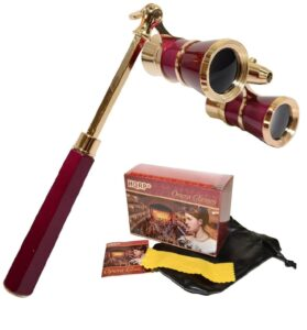 HQRP Opera GlassesBinoculars wCrystal Clear Optic (CCO) 3 x 25 in Burgundy Color with Golden Trim, Built-in Extendable Handle and Red Reading Light