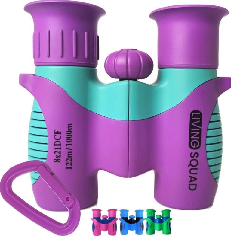 Kids Binoculars 8x21 Purple, Girls Toy Age 3 to 12, Shockproof Compact Binoculars